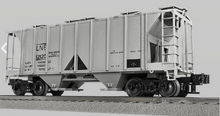 Lionel (Weaver) LNE (plain) 34' ACF AC-2 covered hopper car, 3r or 2r PLASTIC trucks/couplers