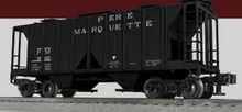 Lionel (Weaver) Pere Marquette 34' ACF AC-2 covered hopper car, 3r or 2r PLASTIC trucks/couplers