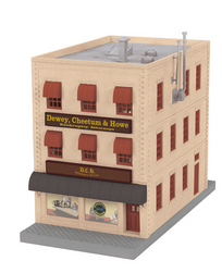 MTH O gauge Dewey Cheatum, & Howe  3-Story City Building with blinking sign and fire escape.