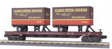 MTH Premier Illinois Central  Flat Car with two 20' Trailers, 3 rail