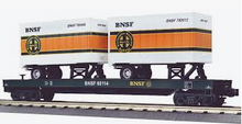 MTH Premier BNSF Flat Car with (2) 20' Trailers, 3 rail