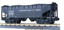 MTH Premier C&O (no logo) 2-Bay Offset Hopper w/Coal Load, 3 rail