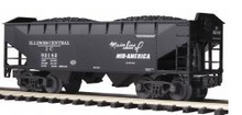 MTH Premier Illinois Central 2-Bay Offset Hopper w/Coal Load, 3 rail