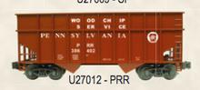 Weaver PRR (oxide red) 34' woodchip hopper car, 3 rail or 2 rail