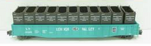 "Lionel LV  PS-5  52' 6"" gondola with LCL containers , 3 rail,"