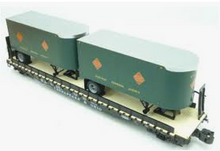 Lionel  REA  twin pup  trailers on C&O 50'  wood deck flat car