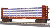 MTH Railking NS bulkhead flat car with lumber load, 3 rail