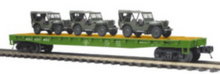 pre-order for MTH Premier set of 4 US army flat cars with transport vehicles, 3 rail