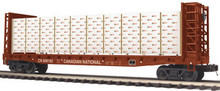 MTH Premier Canadian National Bulkhead Flat Car w/Covered Wood Load, 3 rail