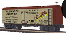 Pre-order for MTH Premier Williamson Candy 36' wood reefer, 3 rail