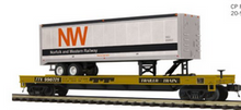 Pre-order for MTH Premier N&W 40' Trailer  TTX  50' flat car, 3 rail