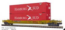 Pre-order for MTH Premier TTX double stack car with 2 Hamburg-Sud containers, 3 rail