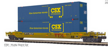 Pre-order for MTH Premier TTX double stack car with 2 CSX blue containers, 3 rail