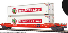 Pre-order for MTH Premier BN double stack car with 2 MOL containers, 3 rail