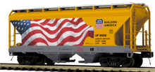 Pre-order for MTH Premier  UP (yellow/flag) 2 bay centerflow covered hopper car, 3 rail
