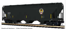 Pre-order for MTH Premier  Reading and Northern  3 bay centerflow covered hopper car, 3 rail