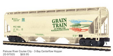 Pre-order for MTH Premier  Palouse River (grain train)  3 bay centerflow covered hopper car, 3 rail