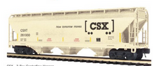 Pre-order for MTH Premier  CSX  3 bay centerflow covered hopper car, 3 rail