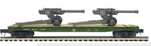 MTH Premier US Army Flat Car with (2) Howitzer Cannons, 3 rail