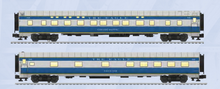 Pre-order for Lionel  O gauge PRR-MoPac  streamined thru sleeper cars (set of 2 cars), 3 rail