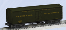 Pre-order for Lionel Hoods Milk wood express reefer with internal tanks, 3 rail