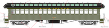 Pre-order for PDT EXCLUSIVE  MTH Premier Rock Island  open vestibule 64' wood passenger coach, 3 rail or 2 rail
