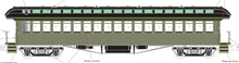 PDT EXCLUSIVE  MTH Premier Pullman green, unlettered  open vestibule 64' wood passenger coach, 3 rail or 2 rail