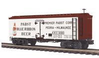 MTH Premier Pabst Blue Ribbon Beer 36' wood reefer,  3 rail