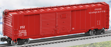 Lionel Pere Marquette 50' double door box car with auto frame load & end doors, 3 rail
