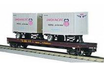 MTH Premier UP Flat Car with (2) UP 20' Pup Trailers, 3 rail, LIKE NEW CONDITION