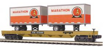 MTH Premier TTX Flat Car with (2) Marathon Oil 20' Pup Trailers, 3 rail
