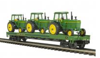 MTH Premier Flat Car with 3 john deere tractors, 3 rail