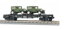 MTH Rail King MTH Transport Flat Car w/(2) 1930 bakery delivery trucks