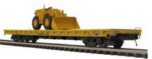 MTH Premier Caterpillar flat car with Traxcavator,  3 rail