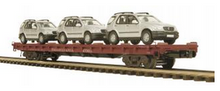 MTH Premier PRR flat car with 3 Mercedes SUV's,  3 rail