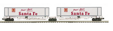 MTH Premier Santa Fe 2 unit skeleton car set, with containers,  3 rail