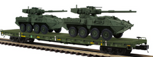 Pre-order for MTH Premier US army flat car with Stryker vehicles (green), 3 rail