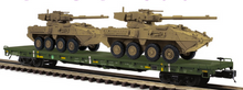 Pre-order for MTH Premier US army flat car with Stryker vehicles (desert brown), 3 rail