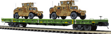 Pre-order for MTH Premier US army flat car with Humvees (desert brown), 3 rail