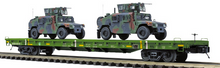 Pre-order for MTH Premier set of 4 US army flat cars with humvees (green) 3 rail