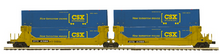 Pre-order for MTH Premier TTX  2 car twin stack car with CSX containers, 3 rail