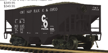 Pre-order for MTH Premier  C&O  2 bay fishbelly  hopper car, 3 rail