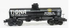 Atlas O  Special Run Tiona refining  8000 gallon tank car, 3 rail or 2 rail