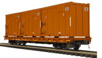 Pre-order forMTH Premier East Carbon Development  60' Flat Car w/trash containers, 3 rail