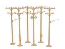 MTH pack of 6 telephine poles (tan)