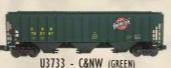 Weaver CNW (green) 50' PS-2CD (4740) covered hopper, 2 rail  or 3 rail