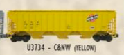 Weaver CNW (yellow) 50' PS-2CD (4740) covered hopper, 2 rail  or 3 rail