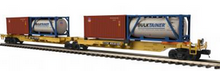 MTH Premier TTAX  2 platform intermodal spine car with 4 20' containers , 3 rail