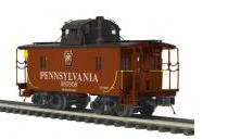 MTH Premier PRR (shadow keystone) N-6B style wood caboose, 3 rail