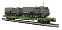 Pre-order for MTH Premier set of 4 US army flat cars with (2) M270 rocket launcher vehicles